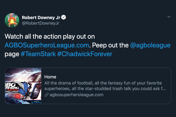 Watch all the action play out on http://AGBOSuperheroLeague.com. Peep out the @agboleague page #TeamStark #ChadwickForever
