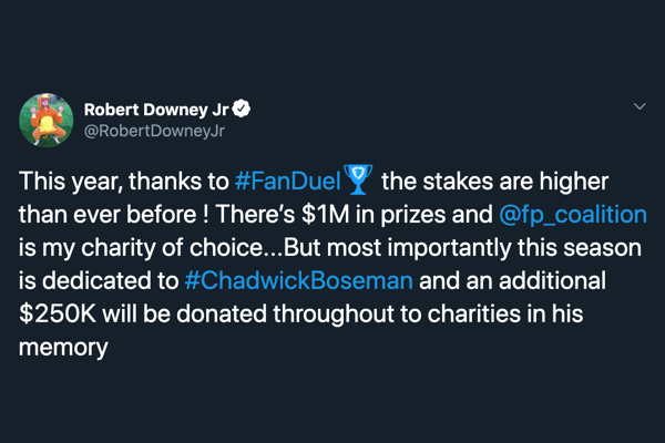This year, thanks to #FanDuel the stakes are higher than ever before ! There's $1M in prizes and @fp_coalition is my charity of choice...But most importantly this season is dedicated to #ChadwickBoseman and an additional $250K will be donated throughout to charities in his memory